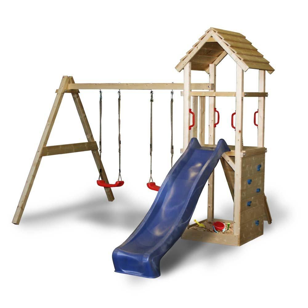 3284287298ff96 Der Spiel- und Kletterturm von Serina präsentiert sich als robuster  Holzspielturm mit Rutsche