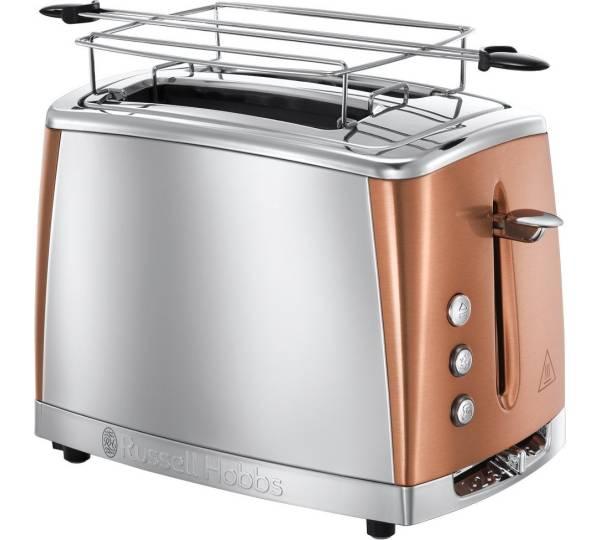 Russell Hobbs 24310-56 Luna Copper Accents Langschlitz-Toaster Edelstahl Toaster